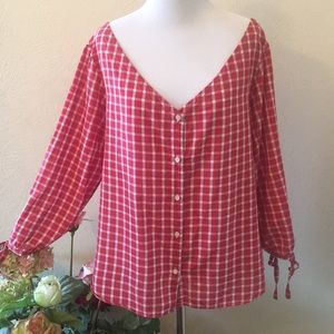 Madewell Red/White Top Size Large